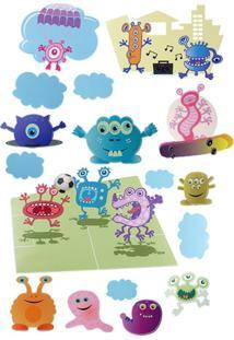 Adesivo De Parede Printas Monstros Multicolor
