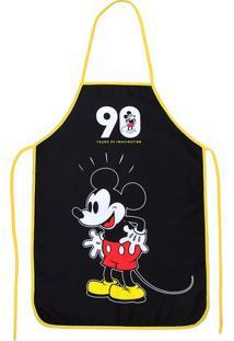 "Avental Mickey® ""90""- Preto & Amarelo- 100X49Cm-Mabruk"