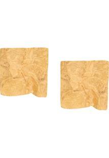 Misho Par De Brincos Quadrados - Dourado