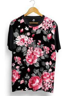 Camiseta Bsc Pink Dark Flowers Full Print - Masculino-Preto