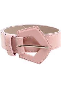 Cinto Birô Fino Verniz Triangular Feminino - Feminino-Rosa