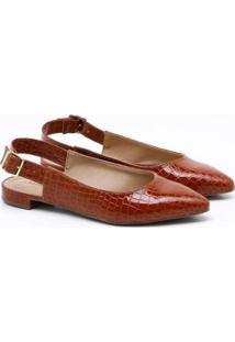 Sapatilha Charlote Shoes Croco Ii - Feminino-Marrom