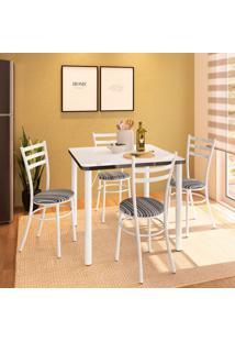 Conjunto De Mesa De Cozinha Com 4 Lugares Luca Branco E Preto