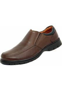 Sapato Social Couro Conforto Medical Line Masculino - Masculino-Marrom