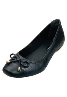 Sapatilha Bico Quadrado Love Shoes Confort Detalhes Laçinho Preto