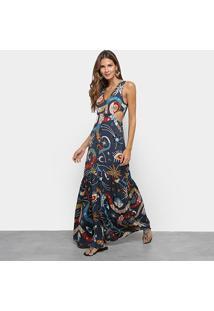 Vestido Longo Cantão Estampado Recorte - Feminino-Laranja
