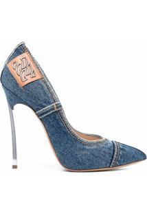 Casadei Sapato Jeans Bico Fino - Azul