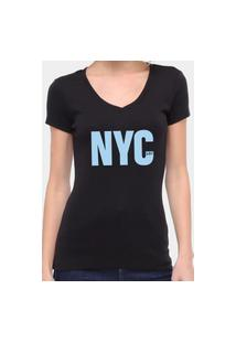 Camiseta Suffix Preta Gola V Estampa New York City Azul Bebe