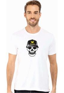 Camiseta Manga Curta Relaxado Caveira Branco
