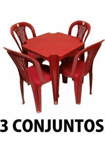 Conjunto Mesa E 4 Cadeiras Bistro Plastico Vinho 3 Conjuntos