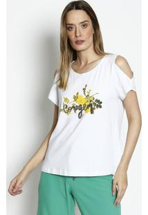 Camiseta Com Bordado- Branca & Verde- Dress Todayênfase