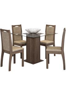 Sala De Jantar Sophia 100Cm Com 4 Cadeiras Marrocos Sued Marfim