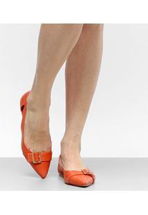 Sapatilha Couro Shoestock Bico Fino Fivela Feminina - Feminino-Laranja
