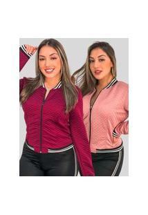 Kit 2 Jaquetas Bomber Matelasse Fec Fashion Casaco Blogueirinha Vermelho E Rosa