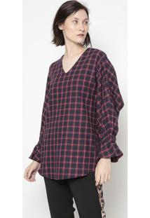 Blusa Xadrez- Azul Marinho & Vermelha- Cotton Colorscotton Colors Extra
