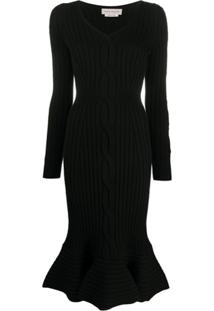 Alexander Mcqueen Cut-Out Detail Ribbed Knit Dress - Preto