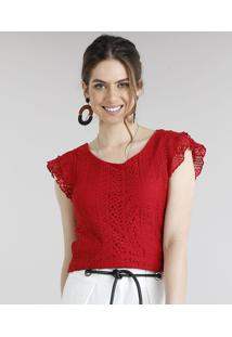 360a850317 Blusa Feminina Com Renda Manga Curta Decote Redondo Vermelha