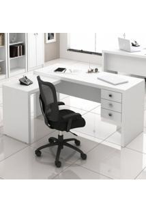 Mesa Em L Para Escritório Com 3 Gavetas Me4106 Tecno Mobili Branco