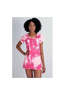 Vestido Estilo Ráfia T-Shirt Tie Dye Rosa
