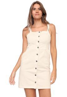 Vestido Sarja Mercatto Curto Botões Off-White