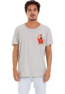 Camiseta Estonada Corte À Fio Joss Logo Heitor Masculina - Masculino-Cinza