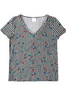 Blusa Preta Estampada Decote V Enfim