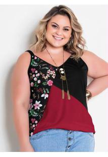 Blusa De Alças Floral Vermelha E Preta Plus Size