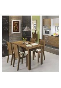 Conjunto Sala De Jantar Rosie Madesa Mesa Tampo De Madeira Com 4 Cadeiras Rustic/Floral Hibiscos