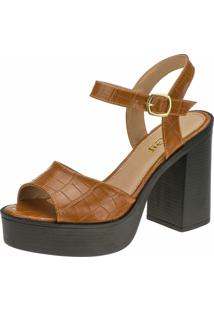 Sandália Salto Gigil Plataforma Croco Caramelo