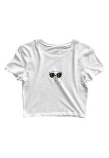Blusa Blusinha Cropped Tshirt Camiseta Feminina Gatinho De Óculos Branco