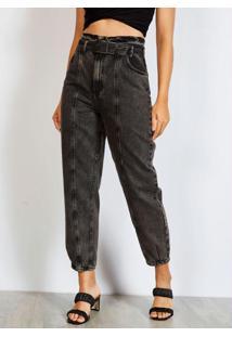 Calça Jeans Mom Com Cinto Preta