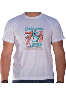Camiseta Masculina Sandro Clothing Califórnia Beach Sunset Branca