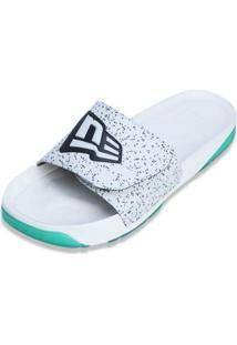 Chinelo Slip-On Branded New Era - Masculino-Branco