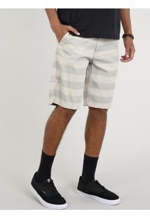 Bermuda Masculina Listrada Com Bolsos Kaki