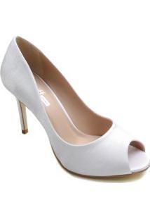 Sapato De Noiva Zariff Peep Toe Salto Fino