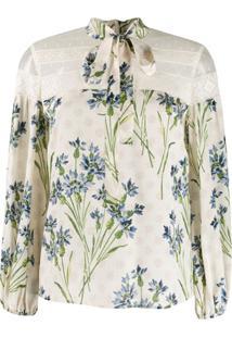 Redvalentino Blusa Com Estampa Floral - Neutro
