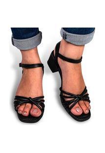 Sandália Feminina Confortável Salto Grosso Bico Redondo Preta Eleganteria