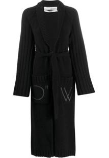 Off-White Cardigan Oversized De Tricô - Preto