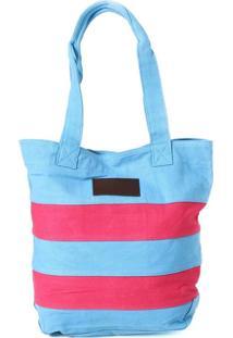 Bolsa Sacola Abercrombie & Fitch Listrada Azul E Rosa
