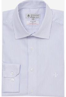 Camisa Dudalina Manga Longa Tricoline Listrado Masculina (Azul Medio, 50)