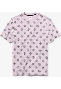 Camiseta Lacoste Live Estampada - Masculino-Rosa+Branco