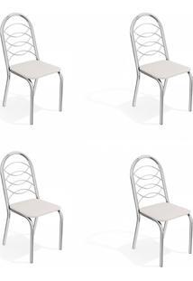 Conjunto Com 4 Cadeiras De Cozinha Holanda Cromado E Branco