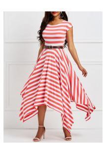 Vestido Rodado Assimétrico Listrado Sem Mangas - Vermelho