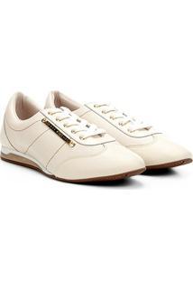 Tênis Couro Jorge Bischoff Jogging Com Logo Feminino - Feminino-Off White