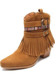 Bota Dafiti Shoes Cano Curto Franjas Caramelo