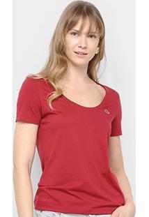 Camiseta Lacoste Básica Feminina - Feminino-Bordô