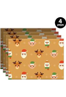 Jogo Americano Mdecore Natal 40X28Cm Caramelo 4Pçs