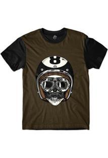 Camiseta Bsc Caveira De Capacete Bola 8 Sublimada Masculina - Masculino-Marrom