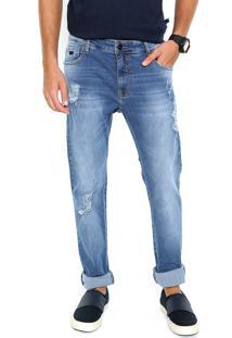 Calça Jeans Coca Cola Reta Destroyed Azul