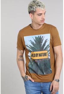 "Camiseta Masculina ""Wild By Nature"" Manga Curta Gola Careca Caramelo"